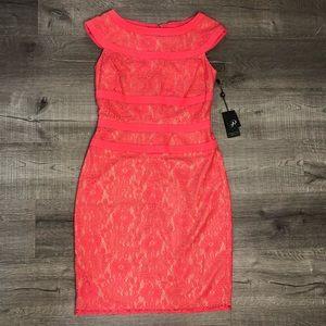 Adrianna Papell Pink Nude Sheath Midi Dress size 8